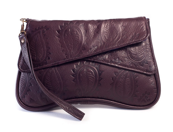 Chocolate brown paisley embossed leather clutch bag with detachable wrist strap front view