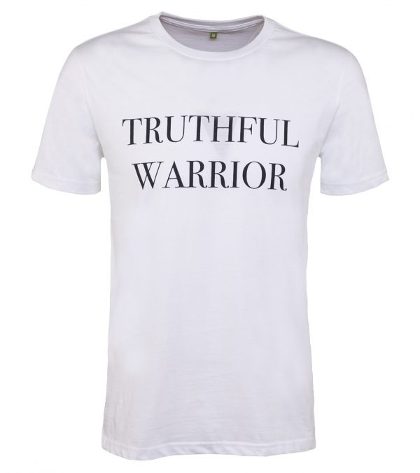 Truthful Warrior unisex white slogan t-shirt made from organic cotton