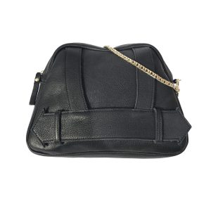Unique compact bag with gold chain can be worn as a shoulder bag, cross body bag or as clutch.