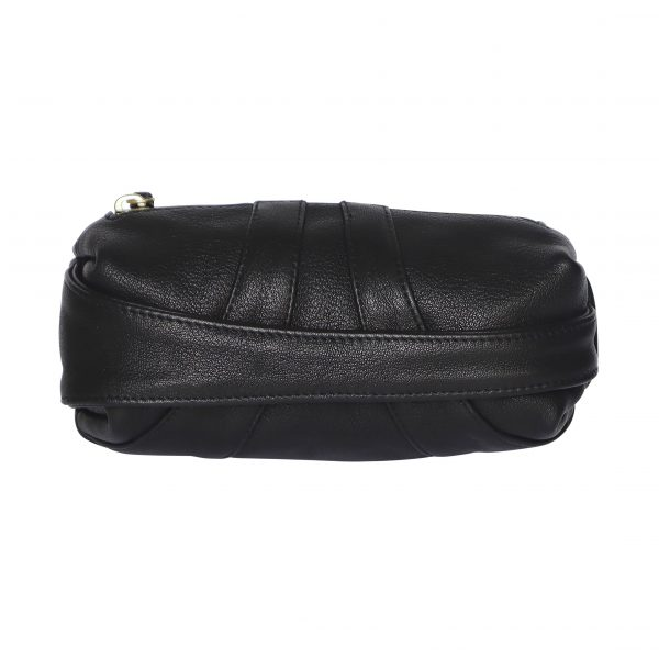 Capsule shaped black leather clutch bag with hand strap across the front