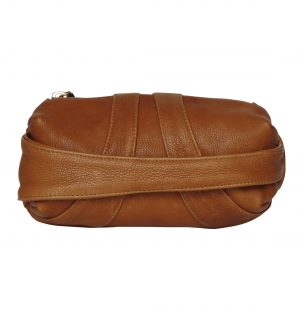 Capsule shaped tan leather clutch bag with hand strap across the front
