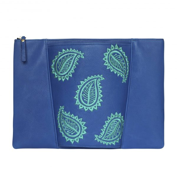 Classic blue pouch style leather clutch bag with jade green paisley leaf embroidery on centre sleeve detail