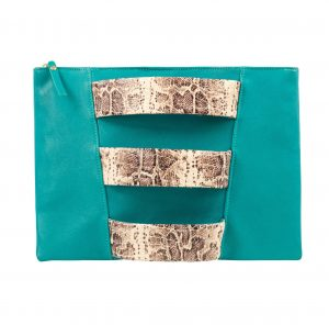 Green pochette bag with 3 armlet straps made from snake print chrome-free leather with gold zip closure at the top.